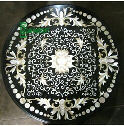 30and039and039 Black Marble Table Top Coffee Dining Inlay Lapis Mosaic Handmade Antique