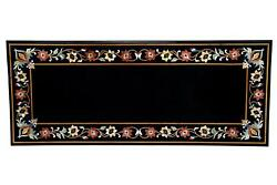 3and039x2and039 Marble Black Coffee Center Table Top Pietra Dura Inlay Malachite Antique