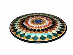 30and039and039 Black Marble Dining Center Coffee Table Top Inlay Antique Malachite F2