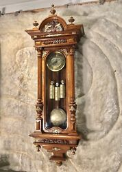 Antique Germany Vienna Strike Clock,3 Carved Weights Driven, Carved Walnut Case.