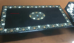 4and039x2.5and039 Marble Black Table Top Pietra Dura Inlay Antique Work Coffee