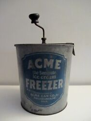 Antique Ice Cream Maker Acme Can Co. Philadelphia Pa. Pat.1927 Complete Working