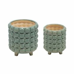 Upscale And Modern Set Of 2 Ceramic 6/8 Footed Planter W/ Bubbles, Green