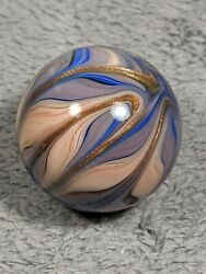 Handmade Decorative Glass Marble Blue And Tan Unique Pattern With Gold Lutz 1.53