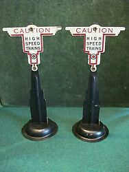 2 Marx O Scale Caution High Speed Trains Signs Black