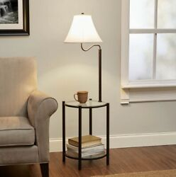 Mainstays Transitional Glass End Table Lamp Matte Black W