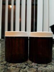 New Empty Amber Glass Jar 2 Jars, 4 Oz With Lids Use For Scrubs, Lotions