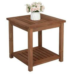Wooden Square Side End Table Patio Coffee Bistro Table Indoor Outdoor Portable