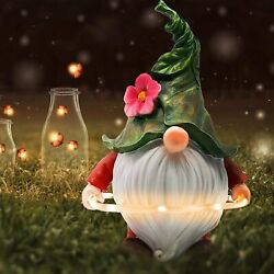 Garden Gnome Statue With Solar Led Lights Gnome Figurine For Outdoors Home Decor