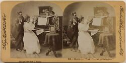 Scene Comic Lesson Of Piano 1894 Photo Stereo Vintage Analogue