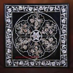 4' Black Marble Table Top Coffee Center Center Inlay Mosaic Lapis Home Decor