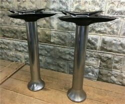 2 Chrome Display Stands Table Leg Base Slot Machine Country Store Vintage D