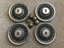 Oldsmobile Wire Spoke 14 Inch Hubcap Wheel Covers With Retainers
