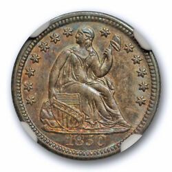 1850 Seated Half Dime Ngc Ms 64 Uncirculated Attractively Toned Beauty
