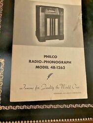 1947 Philco 48-1262 Console Phonograph Radio Owners Manual And Schematics And More