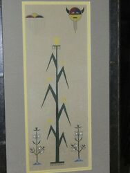 Native American Painting By Unsigned Artist /vintage Acee Blue Eagle Style
