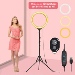 8 Led Ring Light With Tripod Stand And Phone Holder Dimmable Desk Makeup Kit Us