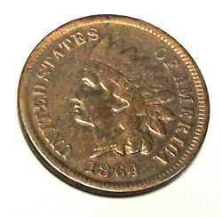 1864 L Indian Head Cent Lot Pl10 Vf-xf Condition / Obv Polished