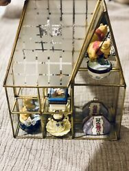Vintage Small Curio Display Cabinet Brass With Glass And Mirror Back W/hinged Bo