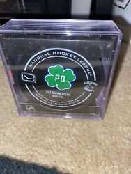 Pat Quinn Tribute Night Official Game Puck Vancouver Canucks Nhl Retirement