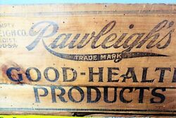 Antique Primtive Rawleighand039s Good Health Products Spice Wood Crate Box For Tins
