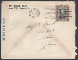 Bahamas 1941 Us War Time Censored Franked War Tax Stamp 3d For Postage Tied Nass