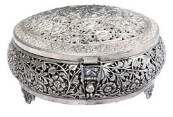 Antique Silver Box Original Holy Handcrafted Carved Rare Indian Collectible Deco
