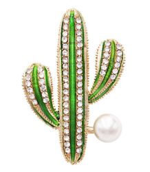 1.70ct Round Diamond 14k Solid Yellowgold Pearl Green Enamel Cactus Plant Brooch