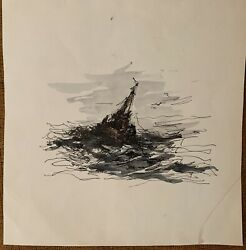 Vintage Pen And Ink And Watercolor Painting By Carlyle C. Browning