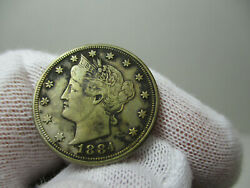 1884 Liberty V Nickel, Us Coin, Five Cents, Cent, Xf Details, Extra Fine Ef