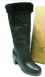 New Wob Sz9 Ugg Avery Women Tall Boots Leather Black