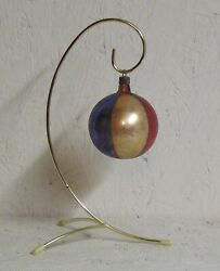 Vintage Poland Glass Round Ornament   Red Blue Gold Beachball Look