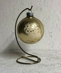 Vintage Glass Ornament   Gold With Flocked Snow Couple   Made In U.s.a.