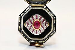 Vintage 18k Gold Art Deco Style Natural Diamond And Ruby Decorated Strong Ring