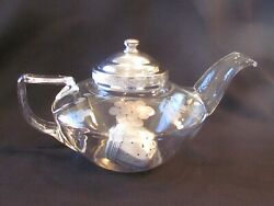 Pyrex 1920's Frederick Carder Etched Glass 4 Cup Teapot Original Lid And Infuser