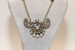 Antique Victorian 14k Gold Natural Rose Cut Diamond Decorated Necklace