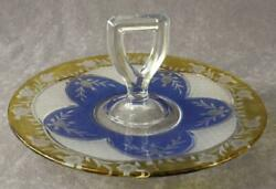 Vintage Westmoreland Crystal Blue And Yellow Floral Cut Glass Sandwich Tray