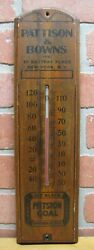 Pittston Coal Pattison And Bowns Battery Place New York Ny Old Ad Thermometer Sign