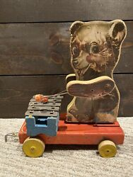 Vtg 1946 Fisher Price Toys Teddy Zilo Wooden Pull Toy - 752 - Missing Wheel