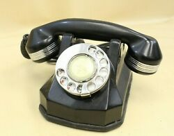 Vintage Art Deco Black And Chrome Ring Monophone Rotary Dial Telephone Black 2