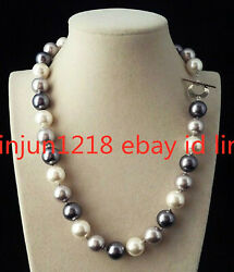 16-36inches Rare Huge 12mm Real Black White Gray South Sea Shell Pearl Necklaces