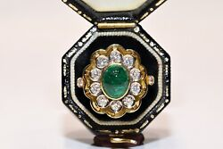 Vintage Original 18k Gold Natural Diamond And Cabochon Decorated Pretty Ring