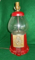 Vintage Antique Lamp Gum Ball Coin Operated Machine Red Country Store Vending