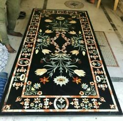 60and039and039x32and039and039 Black Marble Center Table Top Inlay Pietra Dura Handmade Home Decor