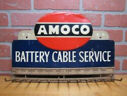 Amoco Battery Cable Service Original Old Embossed Store Display Ad Rack Sign