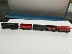 Vintage 1950's Marx Wind Up Train And Tender With 3 Tin Cars Works Good Shelf U2