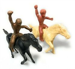 Vintage Horses and Indian Riders Large Plastic Toy Figures 2 Horses 2 Riders