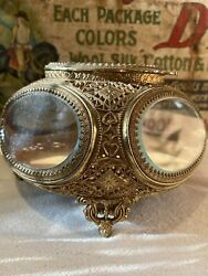 Rare Vintage Victorian Antique Style Jewelry Box Casket Glass Andrea By Sadek