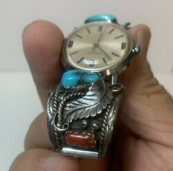 Timex Self-wind Wrist Watch 4014 3169 Southwest Silver Turquoise Band Links Sc