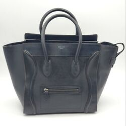 100 Authentic Celine Micro Luggage Leather Black Hand Bag